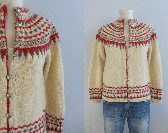 Vintage Nordic Wool Fair Isle Cardigan / 1950s Hand by zestvintage, $118.00