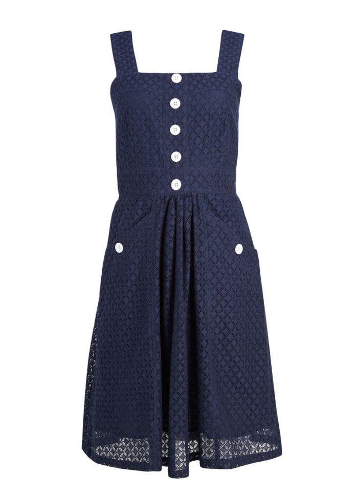 Vida Pattern Cutwork Strappy Sun Dress | size 8, navy
