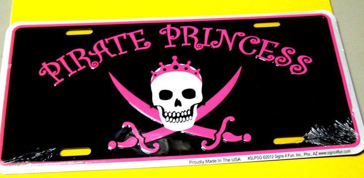 Pirate Princess metal license plate novelty scuba diving equipment dive sign fun