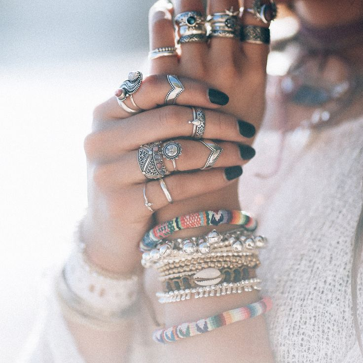 ❉ Boho Jewelry layers from our Sunset Lovers Collection! ❉ ✒ Shop The Magic Now @ www.shopdixi.com // boho // bohemian // jewellery // jewelry // grunge // witchy // bracelet // opal // hippie // summer // ocean // beach // sterling silver rings // gypsy // stacking ring