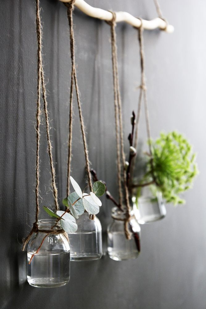 DIY hanging jar vases