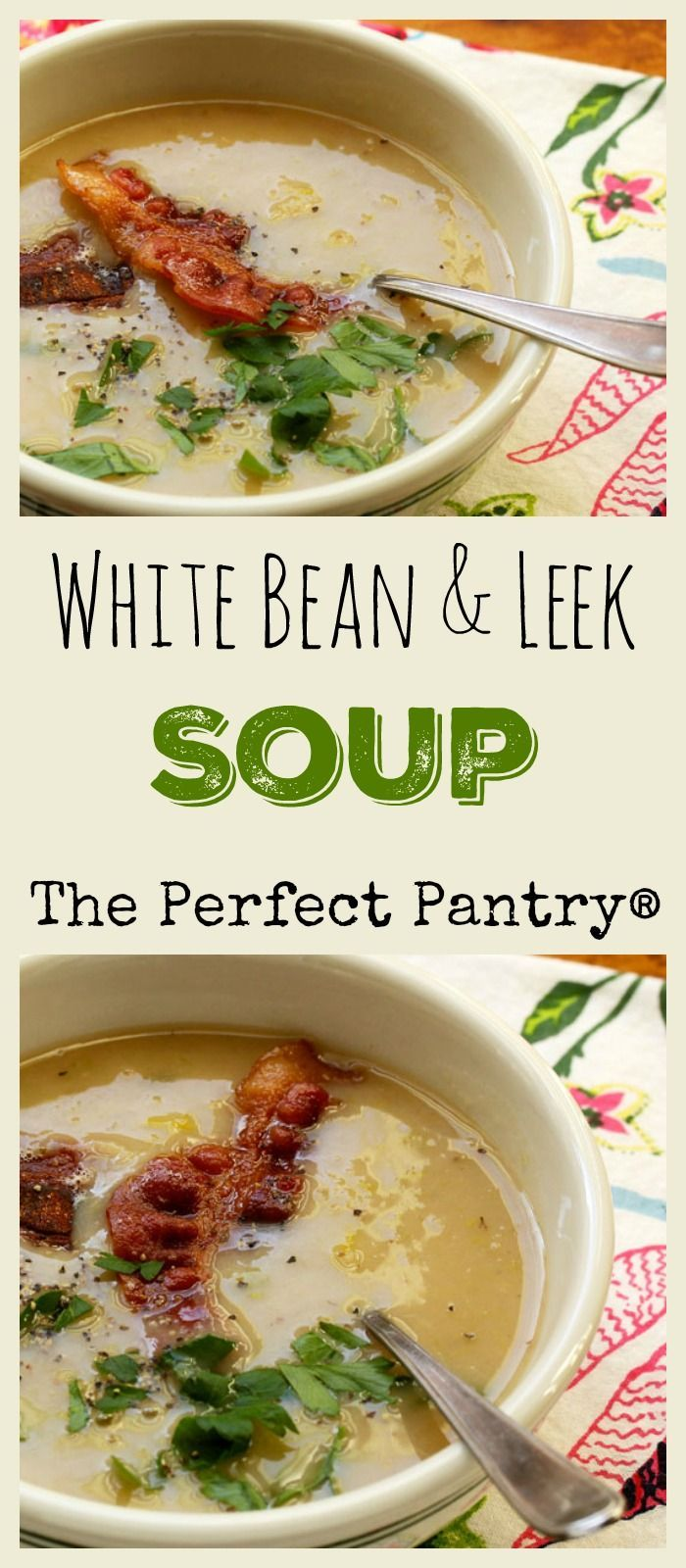A simple white bean and leek soup that's perfect on a winter day. Quick and easy. [from ThePerfectPantry.com]