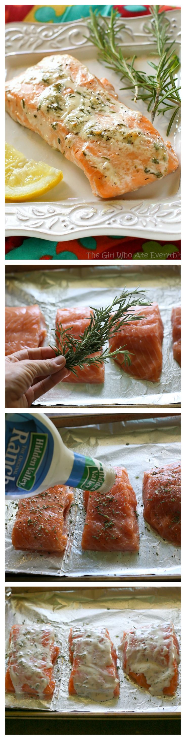 This Rosemary Ranch Salmon is delicious! The combo of the flavors creates a tender and savory sauce that is out of this world. the-girl-who-ate-everything.com