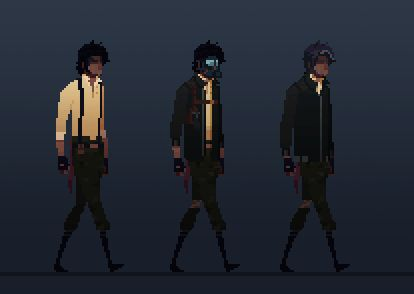 "Website: wanderer-game.com / wanderer-game.tumblr.com / f  Description: ""Wanderer is a 2D, low-res Sci-fi cinematic platformer/adventure game that tells the tale of a man named Rook, a greying convict who wakes from cold sleep aboard an orbital prison facility that's crash landed on the ruins of an Earth long since abandoned by humanity. ;"