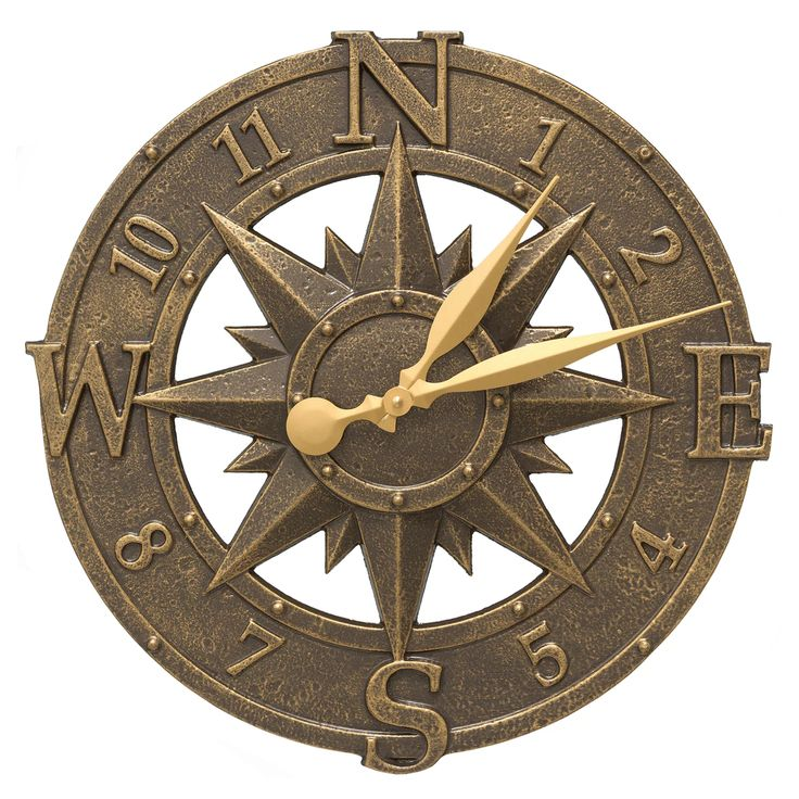 Compass Rose Nautical Outdoor Clock - French Bronze