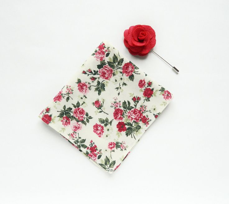 Men's white floral pocket square pink flower lapel pin wedding floral red  pink roses boutonniere prints gift for men groomsmen by TheStyleHubTrends on Etsy