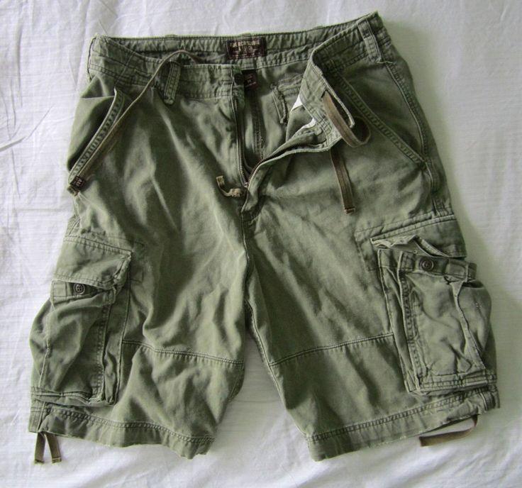 Abercrombie Mens 6 Pocket Cargo Shorts Khaki Green Sz 34 Zipper ...