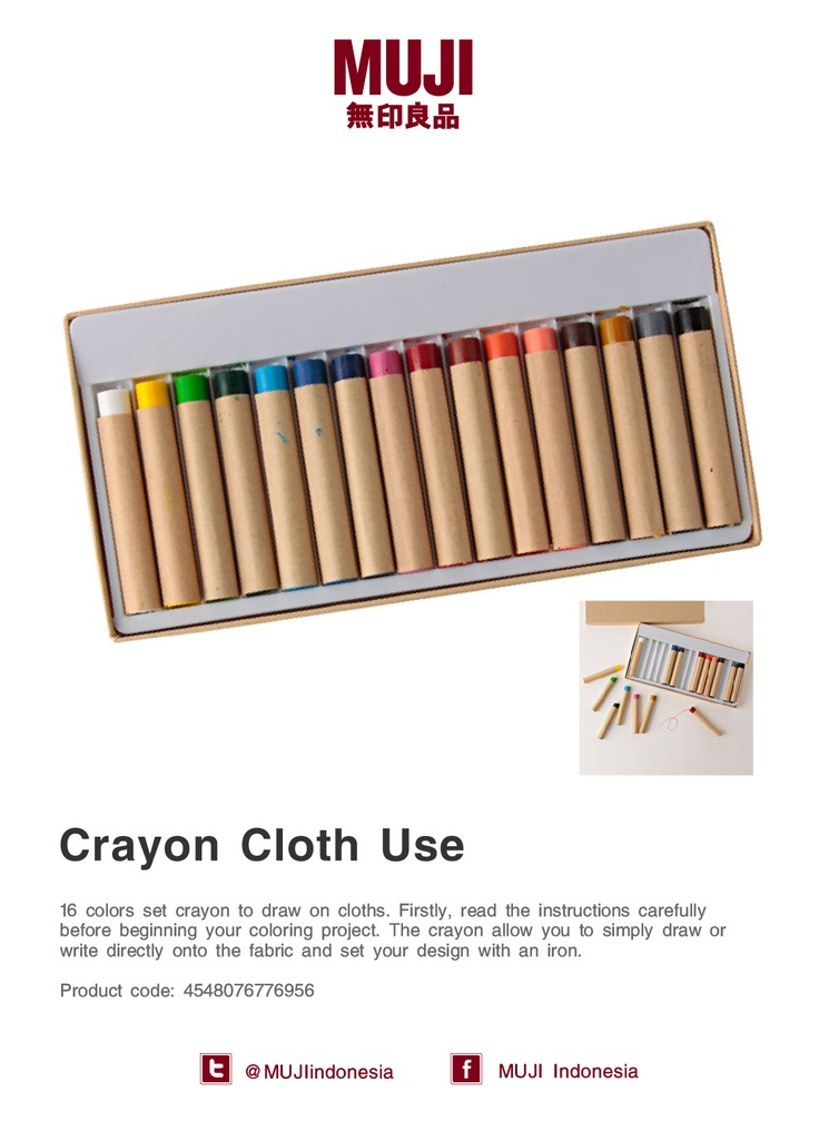 [Crayon to draw on cloths] The crayon allow you to simply draw directly onto the fabric and set it with an iron.