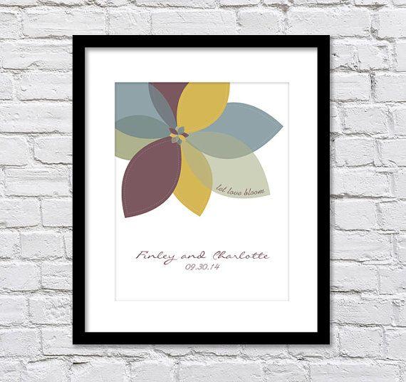 Let Love Bloom /Retro Wedding Flower/ Bridal Shower Gift/ Anniversary Gift/ Gift for Bride/Gift for Groom/ Wedding Date/ Personalized Gift