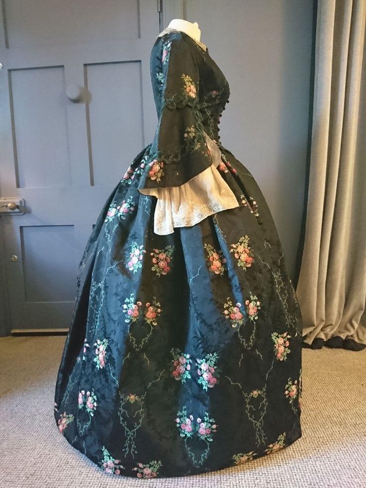 Superb Ex Museum 1850s Silk Crinoline Dress - Lace - Engageantes - Victorian | eBay