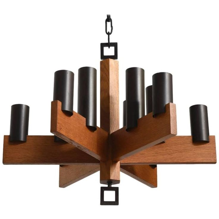 Teak and Enameled Metal Chandelier by Uno and Osten Kristiansson for Luxus | From a unique collection of antique and modern chandeliers and pendants at https://www.1stdibs.com/furniture/lighting/chandeliers-pendant-lights/