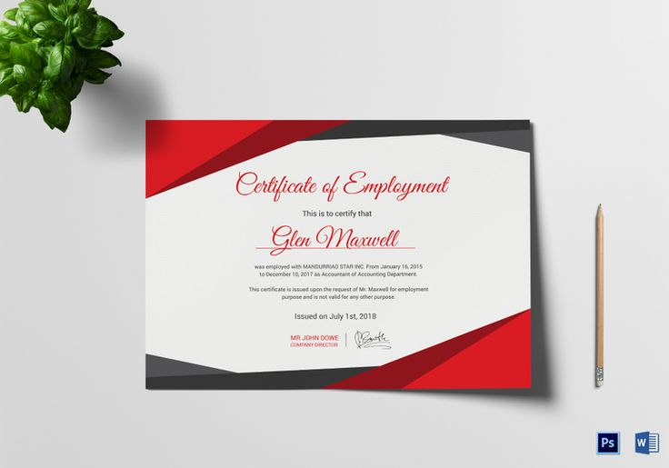 Proficient Employment Certificate Template  $12  Formats Included : MS Word, Photoshop  File Size : 11.69x8.26 Inchs #Certificates #Certificatedesigns #Employmentcertificates