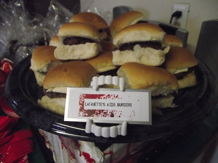 True Blood Party Food Lafayettes AIDS Burgers (hahaha, you'll eat it the way he f'n makes it..)