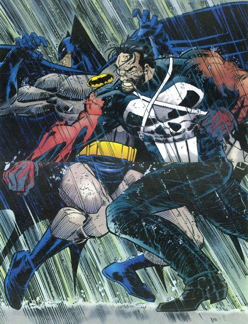 The Punisher Clocks Batman! // artwork by John Romita Jr., Klaus Janson and Christie Schelee (1994)