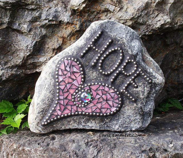 """Hope"" Heart Mosaic Garden Stone - commission stone for a breast cancer survivor - this is wonderful! via Flickr - ChrisEmmert"