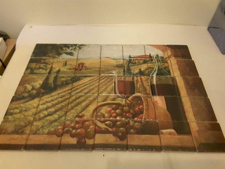 Vineyard tile mural on porcelain tiles at £385 www.tilemuralstore.co.uk  #tilemural #kitchensplashback #winetime #tuscany #vineyards