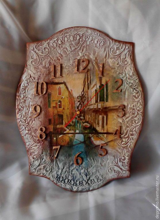Купить Часы ВЕНЕЦИЯ - разноцветный, часы, часы настенные, часы интерьерные, часы ручной работы