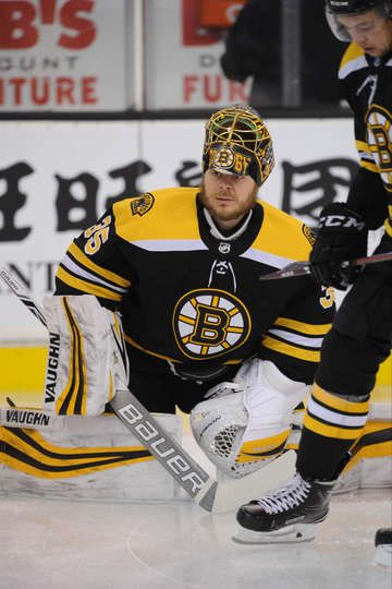 BOSTON, MA - DECEMBER 23: Anton Khudobin #35 of the Boston Bruins warms up before the game against the Detroit Red Wings at the TD Garden on December 23, 2017 in Boston, Massachusetts. (Photo by Steve Babineau/NHLI via Getty Images)