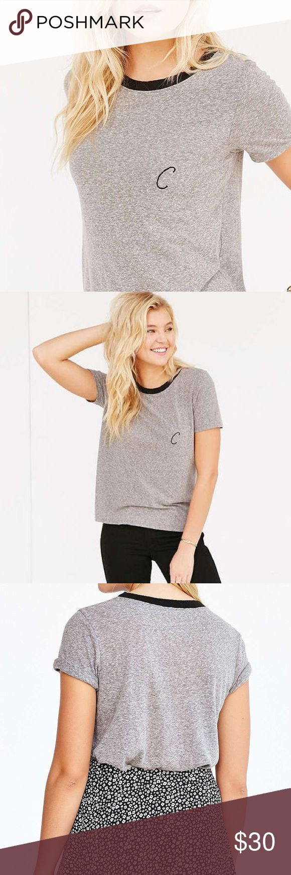 Urban Outfitters Initial Ringer Tee Only worn once, super comfortable grey tee with black lining around collar. With the initial C and from the Urban Outfitter's brand Truly Madly Deeply. Urban Outfitters Tops Tees - Short Sleeve