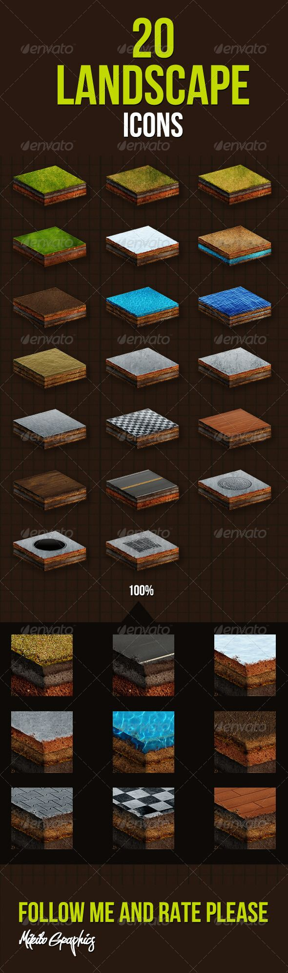 20 Landscape Icons  #GraphicRiver         20 Landscape Icons :  	 This set includes 20 Landscape Icons:  	 Grass, Snow, Desert, Gravel, Water, Dirty Water, Ocean, Concrete, Tile, Floor, Road, Sewer.  	 This set is perfect for web design projects  	   	   	   	      Created: 22November12 GraphicsFilesIncluded: PhotoshopPSD HighResolution: Yes Layered: Yes MinimumAdobeCSVersion: CS Tags: 20LandscapeIcons #concrete #desert #dirtywater #floor #grass #gravel #icons #mikibo #ocean #road #sewer…