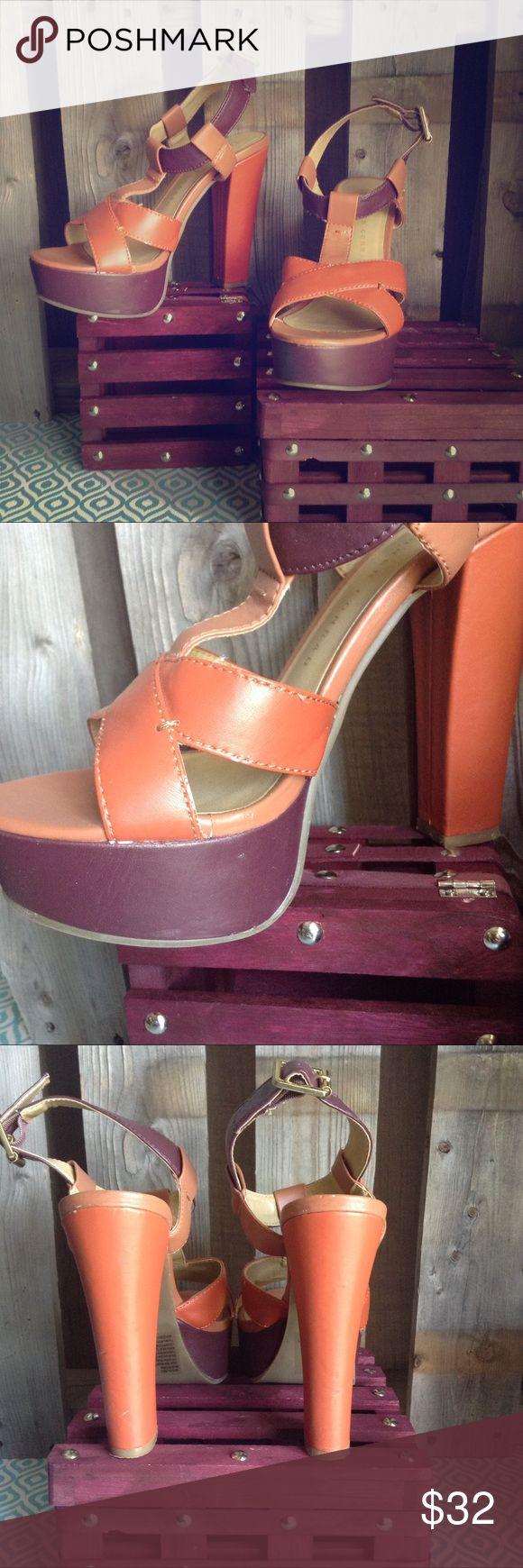 Lauren Conrad  tri-color block platform heel sz6.5 Lovely warm orange, purple, tan colors. Chunky heel. Good used condition. All wear shown.  Size 6.5 LC Lauren Conrad Shoes Heels