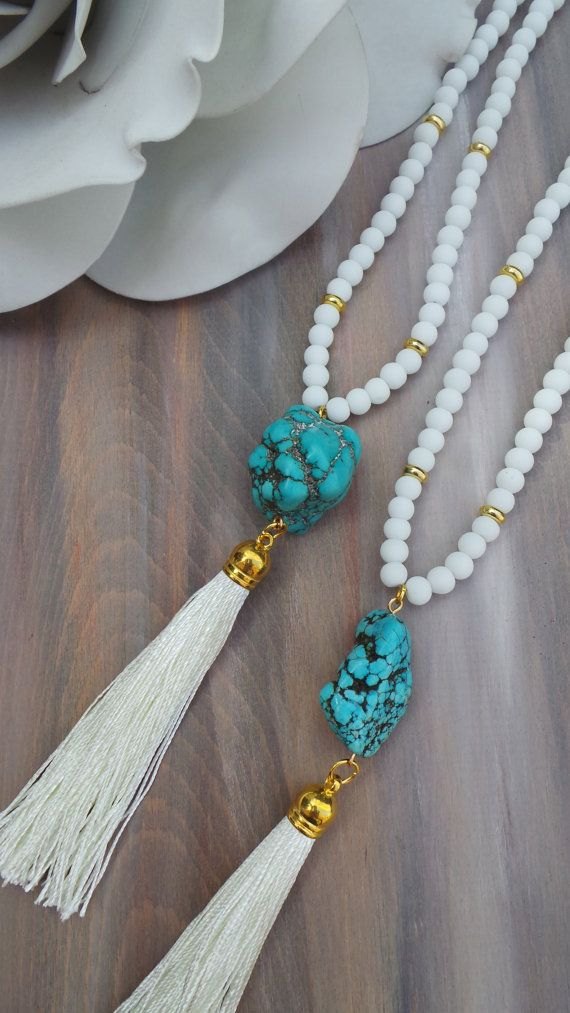 This necklace is so pretty! Turquoise and white makes a great combination and is great for the summer. Wear it on its own or layered.  To
