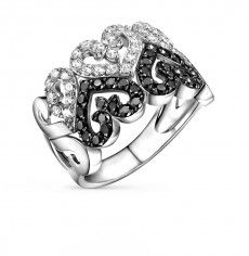 Кольцо, вставка:  фианит; фианит черный; Серебро 925 пробы. 25200