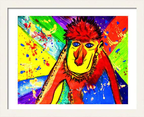 #MonkeyPainting #PrintableNursery #ArtPrint #Pop #Animalprint #KidsRoomDecor #MonkeyArt by #JuliaApostolova