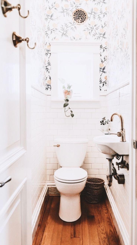 Beautiful Vintage Bathroom Floral Wallpaper Brass Bathroom