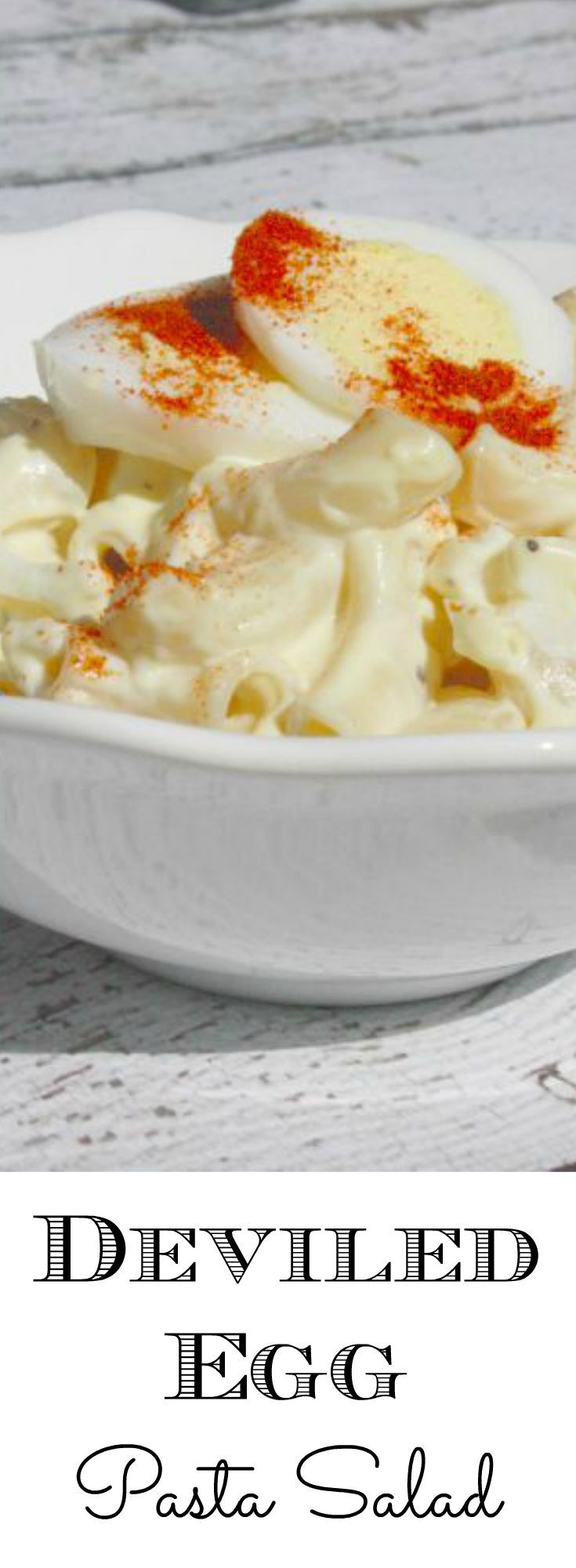 Are you looking for easy side dishes? This deviled egg pasta salad recipe is one you have to try. Forget the funeral potatoes, make this one instead!   http://couponcravings.com/deviled-egg-pasta-salad/