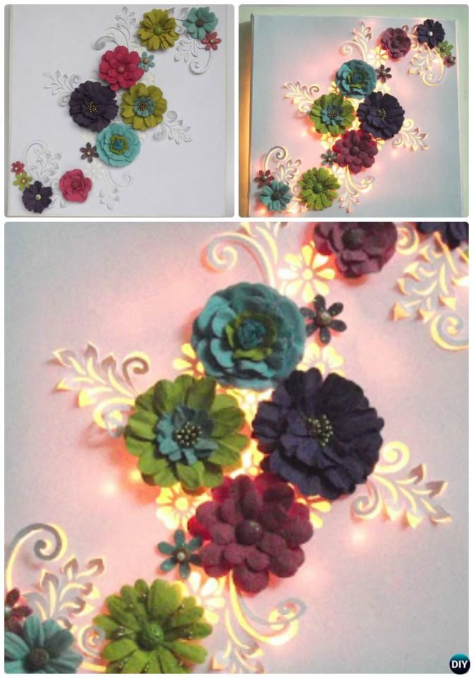 DIY String Light Backlit Canvas Art Ideas Crafts - Light Up 3D Floral Canvas