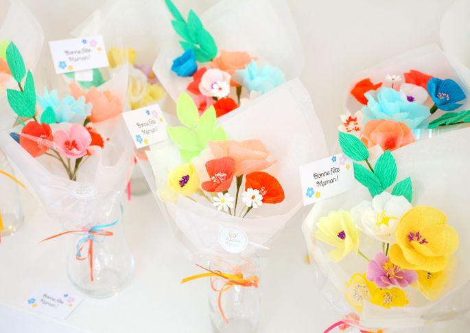bouquet de fleurs en papier cr pon pour la fete des meres adeline klam fleurs en papier. Black Bedroom Furniture Sets. Home Design Ideas