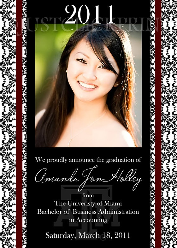 Black and white damask photoshop design for graduation senior invitation and announcement. Use your senior pictures for this classy and sophisticated design.