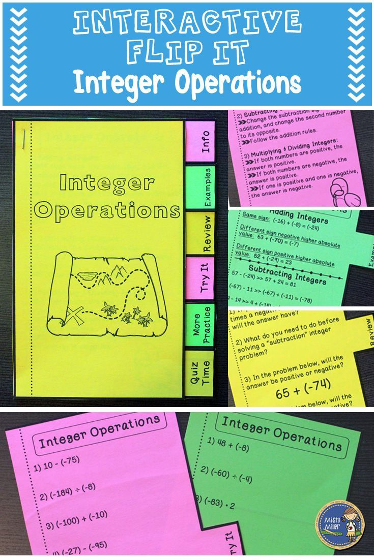 Practice adding, subtracting, multiplying, and dividing integers with this interactive flip it book. Students put together the booklet, and then are able to review integer operations, see examples, and complete problems. There's even an assessment included. Everything is in one place! Great for whole class, small groups, and tutoring. Click here to check it out! $ gr 6-8
