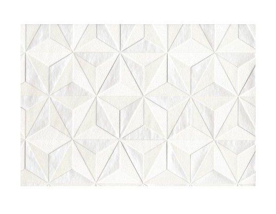 Papier Peint Grainé Intissé Origami Blanc Mica 52cm x 10,05m - Revêtement sol et mur