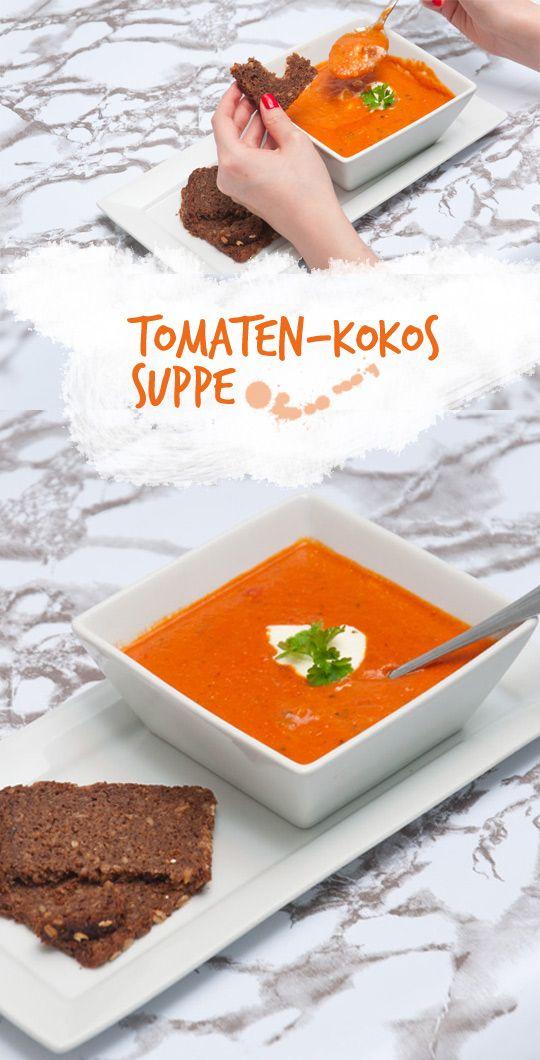 Super einfaches Rezept - Tomaten-Kokos-Suppe. Vegetarisch, cremig und lecker!