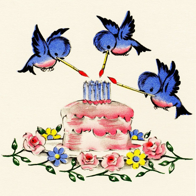 Minus the cake and only two bluebirds holding a banner with my children's names on it.  Love the look of these birds for the tat though!  ~ LH