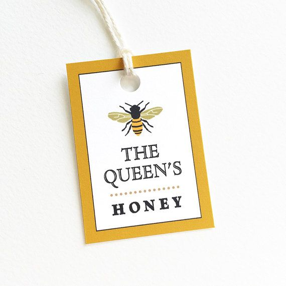 "Beekeeping Gift, Honey Tags, Personalized Food Tags, Honey Bee, Beehive Supplies, Honey Labels, Set of 18 tags, 1.5"" x 2"""