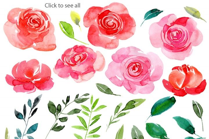 Red Pink Watercolor Roses Png By Watercolorflowers Watercolor Rose Flower Painting Pink Watercolor