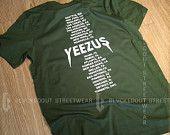Yeezus Tour Olive Green Kanye West T-Shirt / Kanye West / Yeezy / Yeezus Merch / Yeezus Tour /