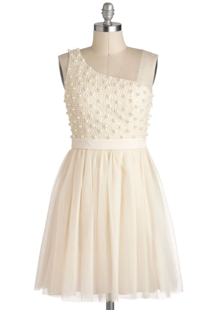 Sugar Pearls Dress - Cream, Wedding, One Shoulder, Mid-length, Pearls, Ballerina / Tutu, Solid, Formal