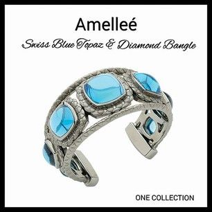 Swiss Blue Topaz & Diamond Bangle