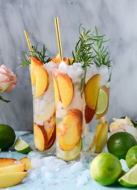 Fresh Peach Gin and Tonic.