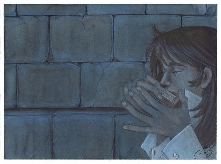 Terry Grandchester / Terence. CandyCandy. He's playing the harmonica for saying Goodbye to Candy who is locked up in the cell of the London school, beyond the wall.  https://www.facebook.com/silviagalassodrawings http://pixiv.me/silviagalasso http://silviagalasso.deviantart.com/gallery/ #silviagalasso #candycandy #harmonica #terry  #fanart #manga #anime #illustration #art #watercolor #coloredpencils