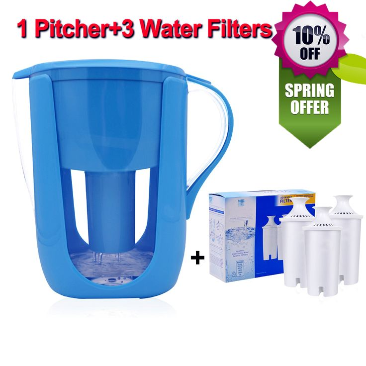Household Water Pitcher Kitchen Water Filter Kettle 1 Pitcher+3 Cartridge Water Filters Activated Carbon for Brita Filter 10Cups