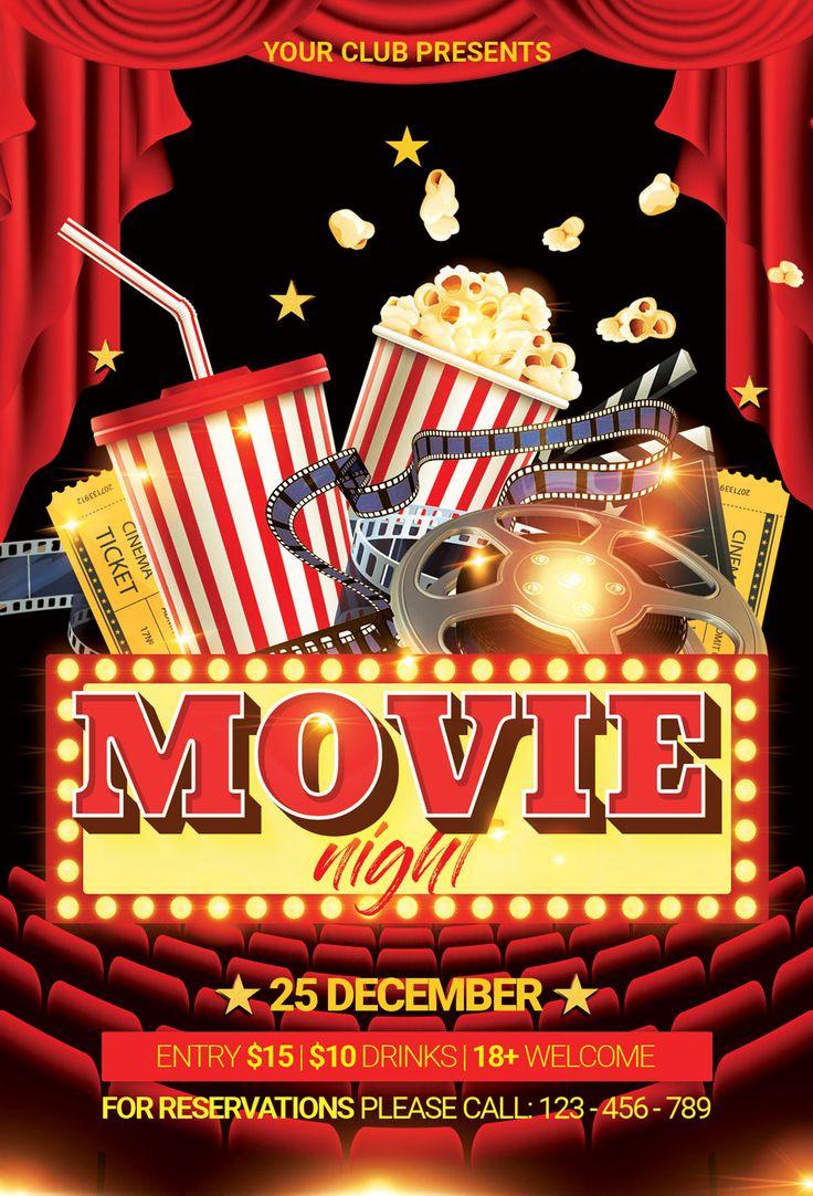 Movie Night Flyer 126293 Flyers Design Bundles In 2021 Movie Night Flyer Movie Night Poster Christmas Movie Night Movie night flyer template free
