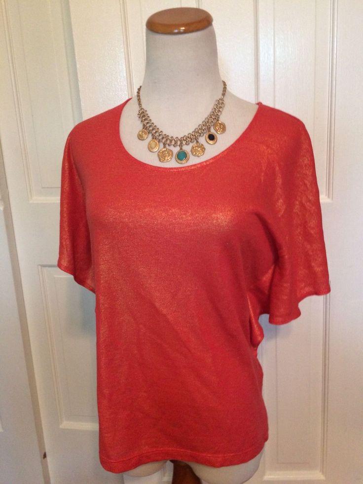 Chico's Orange Metallic Short Sleeve Top Size 0 | eBay