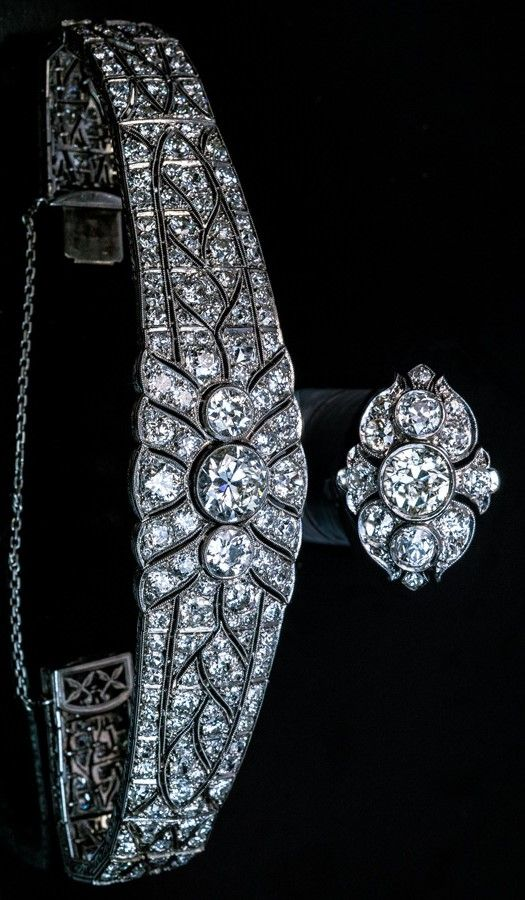 Magnificent Vintage Art Deco Diamond Platinum Bracelet and Ring  1920s  Each piece centered with three bezel-set diamonds: