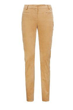 ELK Camel stretch cotton velveteen slim-leg pant. Flat front.