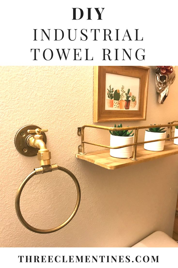 DIY Industrial Towel Ring #diy #industrial #towelring #bathroom #decor #interiordesign #doityourself #steampunk #golddecor #goldfixture #gold